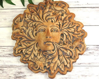 Green Man Garden Green Woman Greenman Plaque Outdoor Wall Hanging Handmade Pottery Goddess Sculpture Medieval, Housewarming Gift, 765