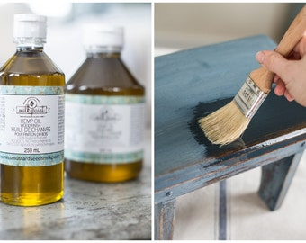 Hemp Oil for Wood - Miss Mustard Seed Wood Finishing Oil - Paint Top Coat for Painted Furniture Finish - Wood Treatment Oil