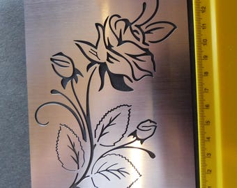 Stainless Steel stencil Oblong Rose Bud Flower Floral Emboss LARGE