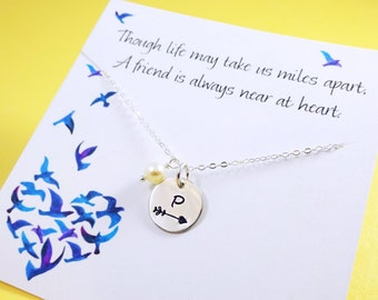 Graduation gift, friendship necklace Follow your arrow, initial necklace, High school graduate gift, Personalized Bridesmaid gifts, Sisters
