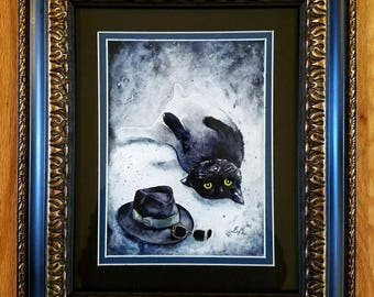 The Invisible Kitten - Original Watercolour Black Cat Classic Horror Painting