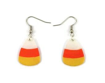 Candy corns dangle earrings, white orange yellow halloween earrings, eco-friendly fancy earrings, painted plastic earrings (recycled CD)