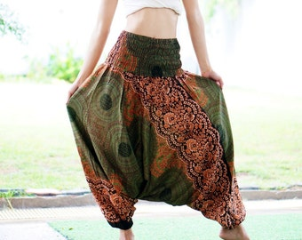 Plus Size Green Olive Harem Pants Thai Pants, Rayon Pants, Boho Strenchy Pants, Elastic Waist Clothing Beach Women Baggy Casual G80269