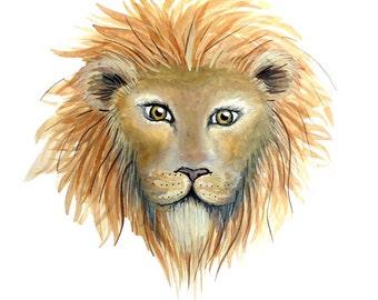 Lion Print - Watercolour Painting
