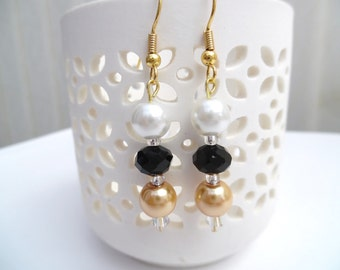 Black White and Gold Pearl Earrings, Black Bridesmaid Earrings, Jewelry For Bridesmaids, Beaded Earrings, Wedding Jewelry, Dangle Earrings