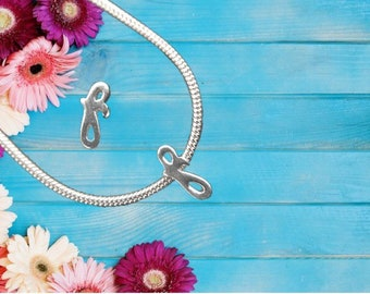 Lowercase 'f' Sterling Silver Charm Necklace With Gift Box