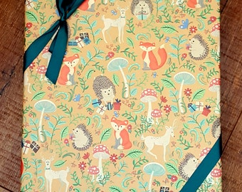 Woodland Animals Wrapping Paper, Hedgehog Wrapping Paper, Fox Gift Wrap, Deer Wrapping Paper 2 ft. x 10 ft. Roll, Birthday Wrapping Paper