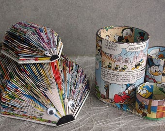 Letter-rack comics in color/MOM, baby hedgehogs and pot has matching pencils