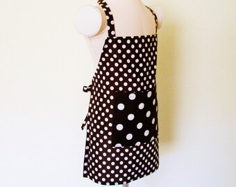 Childrens Apron - Chocolate Brown Retro Polka Dots Boys or Girls Kids Apron, fun to cook or create in, a great painting apron