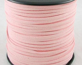 Pink suede cord light, 3mmvendu by 1 M