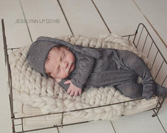 Newborn footed romper and hat set / photography prop