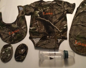 5 Piece 0-6 Month Baby Personalized Camouflage Combo