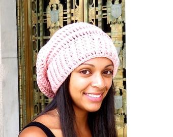 Crochet Slouchy Hat, Tam, Pink Crochet Hat, Ribbed, Beehive Hat, Women, Men, Teen, Tam,  Color is Pink,