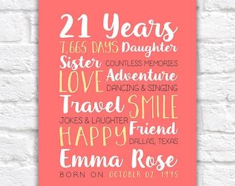 Any Year Birthday, 21st Birthday, Best Friend Birthday Gifts, 21 Years Old, 25, 15 Years Old, 12 Years Old, 13 Years Old, Daughter | WF342