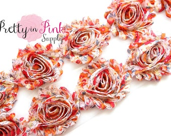 VINTAGE ORANGE and IVORY Shabby Rose Trim- Shabby Flowers- 1/2 Yard or 1 Yard- Shabby Chiffon Trim- Wholesale Shabby Flowers