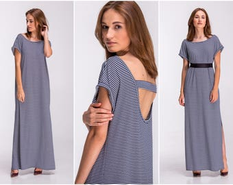 Blue White Dress , Maxi Dress Oversized Dress Striped Dress Marine Dress Nautical Dress Plus Size Dress Open Back Dress Summer Dress A0038