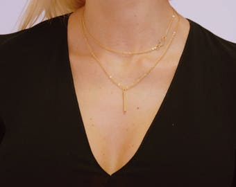 Gold Swallow Necklace, Gold Necklace, Two layers chain, Simple Pendant, Bird Pendant, Minimalist Necklace, Gold Chain Pendant, Gift For Her