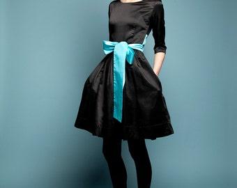 Black dress Silk dress Party dress 1950s dress 50s dress Little black dress Cocktail dress Full skirt dress Dress wth pockets Handmade