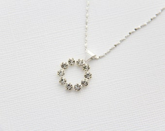 Swarovski Crystal Open Circle Pendant Sterling Silver Chain Simple Modern Bridal Wedding Accessory Necklace Under 25 Gift for Girlfriend