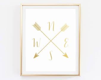 Compass Printable, Bedroom wall decor, Gold home decor, Cardinal Directions Prints, Arrow Art, NWES Prints, Compass wall art