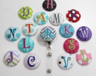 Personallized Monogram Fabric Retractable Badge Reel Badge Holder, Nurse ID Reel Holder,  Alligator clip,  Waitress,Teacher Gift One Letter