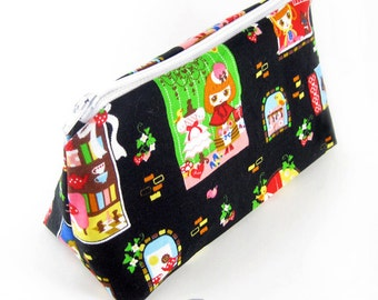 JULY PREORDER Cosmetic pouch bag with black lolita print  japanese fabric make up case gift bag travel kit toiletry zipper kawaii cute
