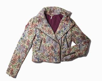 FP Tapestry Floral Moto Jacket   Sz 0