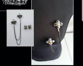 Hand made brooch with small earrings