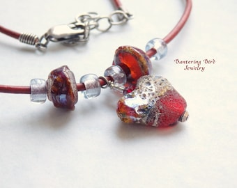Red Heart Necklace, Lampwork Glass Pendant, Women's Leather Adjustable Necklace, Gift for Mother, Wife, or Sweetheart