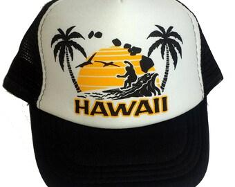Kid's Youth TODDLER Hawaii Surfing Sunset Mesh Trucker Hat Cap Black