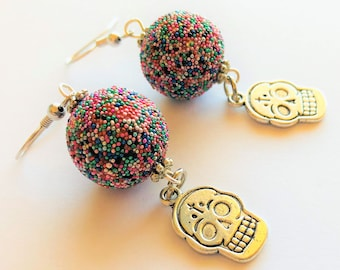 Sugar Skull Earrings Candy Sprinkle Sugar Silver Day of the Dead Earrings