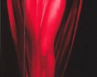HUGE 12x40 LADY in RED Pin-Up Roy Best Big Band Jazz Singer PinUp Anita O'Day Deco Vintage  Radio Microphone sheer Red Dress gown
