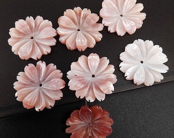 6pcs 16mm Pink MOP Carved Daisy Flower Beads Pinl Shell Carved Daisy Beads