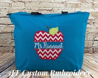Personalized Split Apple Teacher Zippered Tote Bag