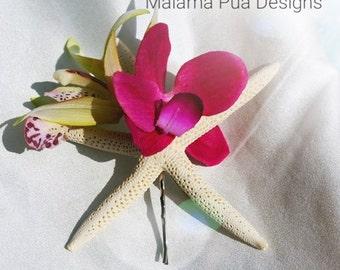 WEDDING HAIR Clip, Starfish & Orchids, Bridal, Headpiece, Hair pin, Tropical Hair piece, Hair Accessory, Swarovski cyrstals, Beach wedding