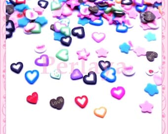 Mix 200 sliced fimo hearts and stars REF1429