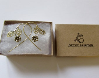 Flower Tribal Hooks Earrings Tribal Earrings Boho Festival Jewellery Free UK Delivery Gift Boxed