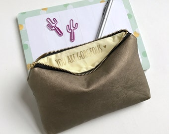 You Are Gorgeous. Secret Message Makeup Bag. Gift For Her