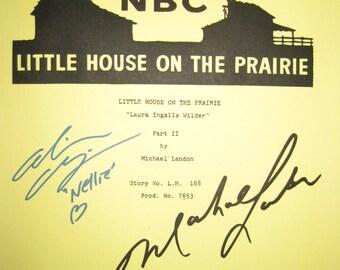 Little House On Prairie Signed TV Script Screenplay Michael Landon Alison Arngrim autographs signature classic tv show