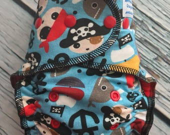 Fitted Cloth Diaper - Stay Dry Liner - Overnight Fitted - Optional Hemp or Bamboo Insert - Pirates