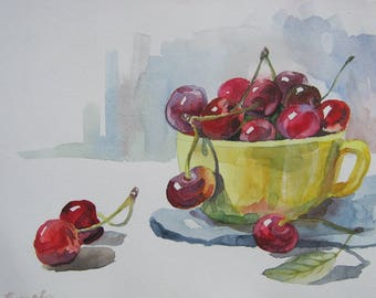 Art Watercolor Painting Still Life With Cherries