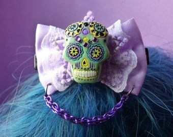 Green Skull Day of the Dead Purple Bow Hair Clip