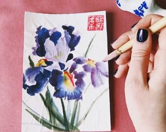 Iris, handmade postcard