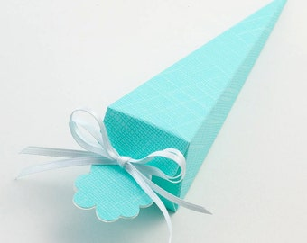 10 Celeste Blue Silk Cone Favour Boxes