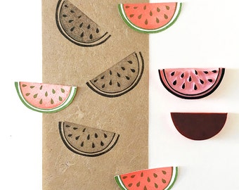 Rubber stamp of a watermelon, hand carved, two color stamping, tropical decor, summer fruit