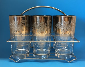 Silver Fade Highball in Chrome Carrier, Queen's Lusterware, Dorothy Thorpe Style, Mad Men