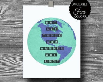 not all those who wander are lost atlas world map art print quote poster inspirational wall decor typography 8x10 home decor motivational