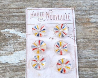 Vintage Antique 1920s French  painted glass buttons set of 6 on a card