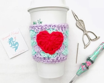 Mermaid Love Coffee Cozy- Cup Cozy- Crochet Cozy