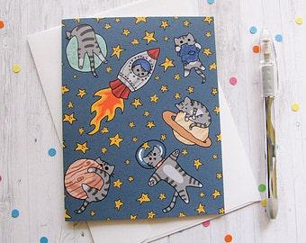 Espace chat carte de voeux carte de voeux drôle mignon Note tout moment carte chat stupide amant astronaute l'espace planètes n'importe quelle Occasion vierge